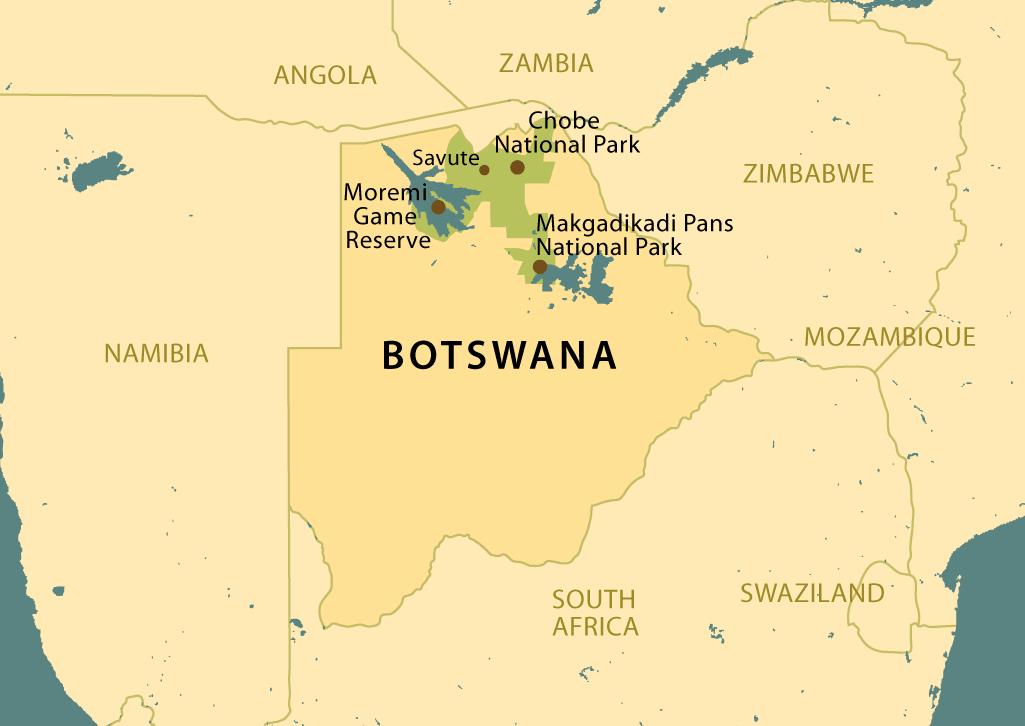 Botswana Map featuring Chobe National Park, Moremei Game Reserve, Savute, and Makgadikgadi Pans.
