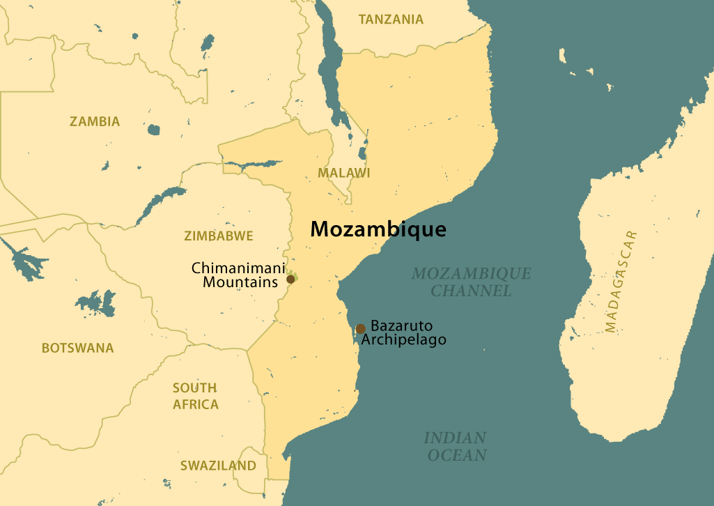 Mozambique map featuring Victoria Falls, Hwange National Park, and Gonarazhou National Park.